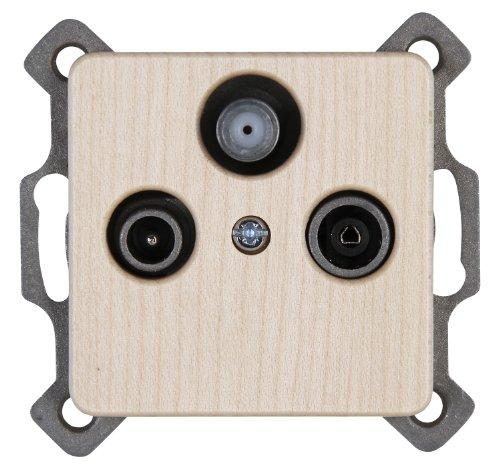 Kopp 917139080 Milano Antennensteckdose mit drei Ausgängen, TV/RF/SAT, Einzel- und Durchgangsdose, ahorn