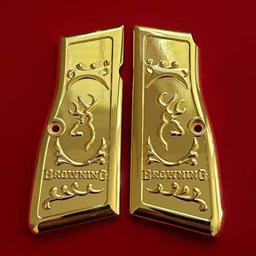 Tek_Tactical Custom Browning Hi Power Grips Engraved Gun Grips Browning Gold Plated Grips, Screws Included
