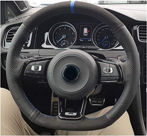 Cubierta de volante de coche de ante negro para Volkswagen VW Golf 7 GTI Golf R MK7 VW Polo GTI Scirocco 2015 2016 (estilo 05)
