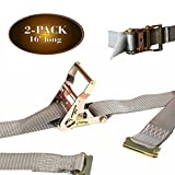 2 E Track Ratchet Tie-Down Cargo Straps, 2' x 16' Durable Ratcheting Strap Cargo TieDowns, Heavy Duty Grey Polyester Tie-Downs, ETrack Spring Fittings