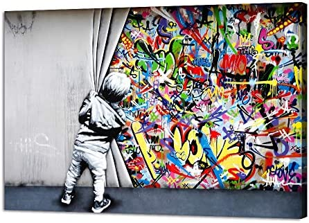 Yatsen Bridge Classic Street Art Banksy Graffiti Wall Art Behind The Curtain Posters Canvas product image
