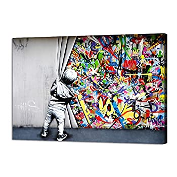 Yatsen Bridge Classic Street Art Banksy Graffiti Wall Art Behind The Curtain Posters Canvas Paintings Colorful Graffiti Pictures Prints Stretched and Framed for Living Room Home Decor 36  W x 24  H