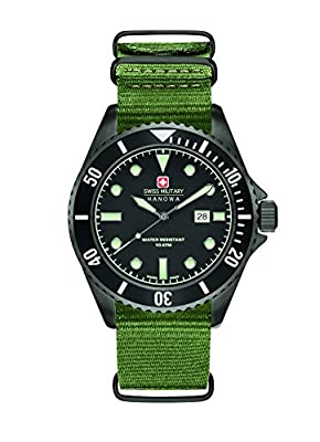 Swiss Military hombre reloj de cuarzo con negro Esfera Analógica y Azul Correa de nailon 6–4279.04.007.03