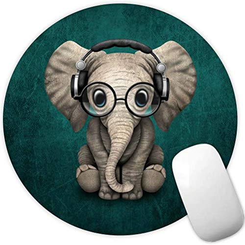 Mouse Pad Headset Music Elephant Pattern Cute Desk Decor Mousepad Non-Slip Rubber Custom Computer Gaming Mouse Pad Round Mouse Pads for Home and Office
