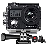 AKASO Waterproof 4K WiFi Sports Camera 20MP Sport Action Cam Ultra HD Stabilizer 170 Degree EIS 30M Wide Angle LCD Screen Underwater 2 1050mAh Batteries Remote Control Accessory Kits - Brave 4