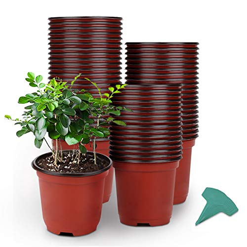 GROWNEER 120 Packs 4 Inches Plastic Plant Nursery Pots with 15 Pcs Plant Labels Seed Starting Pot Flower Plant Container for Succulents Seedlings Cuttings Transplanting
