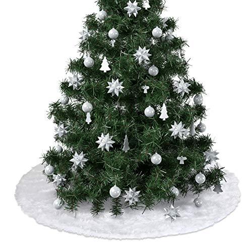 LIHAO 90cm Weihnachtsbaum Rock Rund Weiß Weihnachtsbaumrock Christbaumdecke Plüsch, Weihnachtsbaumdecke Weiß Baum Röcke für Weihnachten Home Dekoration