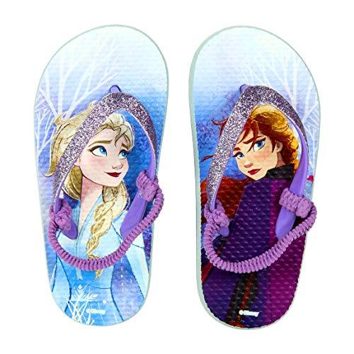 Ciabatte Infradito Bambina Frozen 2 Elsa & Anna Disney | Premium | Glitterate | Fascia Elastica (26/27 EU) | Multicolor | Taglie da 24 a 33 (Frozen 2 Elsa & Anna Glitter, Numeric_28)