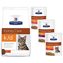 HILL'S PRESCRIPTION Diet K/D Kidney care Dry food 1.5kg and 3 x 85g pouches (chicken, beef, salmon)