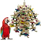 SHANTU Large Corn Husk Bird Parrot Chewing Toy - Multicolored Natural Wooden Parrot Blocks Knots Tearing Toy Bird Cage Bite Toy for African Grey, Macaws Cockatoos, and a Variety of Amazon Parrots