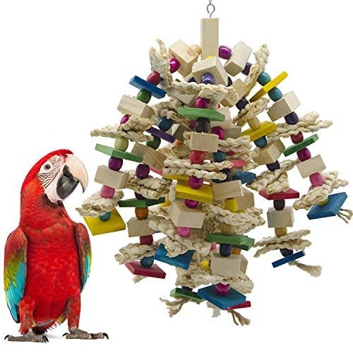 SHANTU Large Parrot Chewing Toy - Bird Parrot Blocks Knots Tearing Toy Bird Cage Bite Toy for African Grey, Macaws Cockatoos, and a Variety of Amazon Parrots