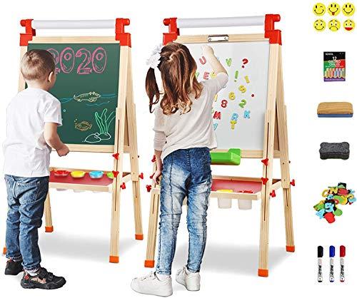 Joyooss Staffelei aus Holz mit Papierrolle, Magnetische Doppelseitige Chalkboard und Whiteboard, Höhenverstellbare Standtafel 71-127cm, Kreidetafel und Spieltafel für 3-12 Jahre Kinder