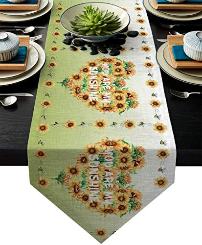 MODORSAN Table Runner Dresser Scarves, Heart Sunflowers Ombre Green Burlap Rectangle Table Runners for Dining Outdoor Party Farmhouse Table Top Decor,13×70 Inch