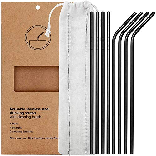 Set of 8 Stainless Steel Metal Straws 10.5'' Reusable Drinking Straws for 20oz Tumblers Yeti 6mm Diameter, Black (4 Straight + 4 Bent + 2 Brushes)