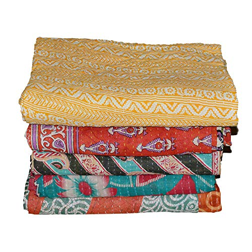Indian Kantha Quilt Patch Work Cotton Vintage Twin Bedspreads Throw Blanket Made Rally Reversible Bedspread Throw Old Sari Made Assorted Patches Cotton Blanket Pure Cotton Indian Gudri (Lot of 5)