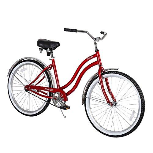 COEWSKE 26' Single Speed Men Women's Beach Cruiser Bicycle(Artsy/Retro Red)