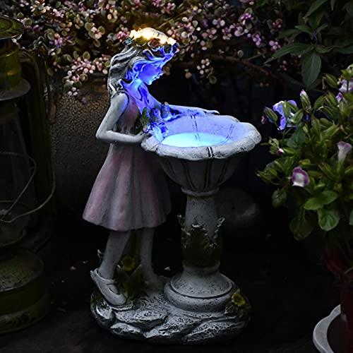 papasgix Gartendeko Blume Fee, LED Solarlampen Garten Deko Harz Gartenfiguren Solarleuchte Wasserdicht Figur Schildkröte Elf Statue Figuren Geschenk für Terrasse, Vorgarten, Garten(Rosa-Fee)