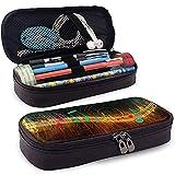 Caja colorida de la pluma del lápiz de cuero de las notas musicales, bolso del maquillaje del viaje, caja del sostenedor de la bolsa