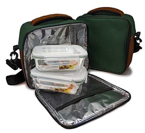 Nerthus Lunch Bag Fiambrera Bolsa Termica Porta Alimentos Verde + 2 Tupper, Tela Resistente, Con 2 Herméticos Cristal, Con 2 Tuppers Cristal