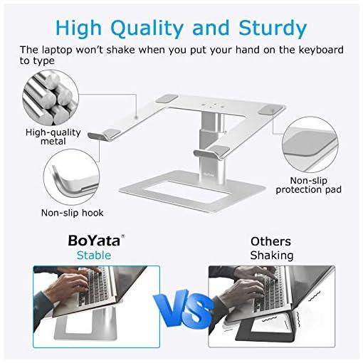 BoYata Soporte para portátil ventilado de altura ajustable, soporte para portátil compatible con MacBook Pro / Air de 10… 3