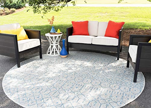 Elsa Blue Outdoor 8 Foot Round Area Rug for Living, Bedroom, or Dining Room - Solid