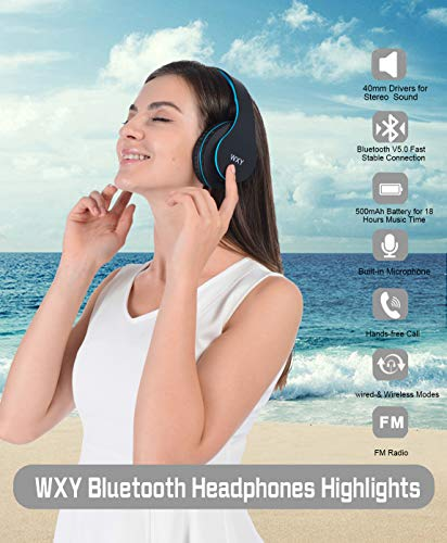 Over Ear Bluetooth Headphones, WXY Wireless Headset V5.0 with Built-in Mic, Micro TF, FM Radio, Soft Earmuffs & Lightweight for iPhone/Samsung/PC/TV/Travel(Black-Blue) 2