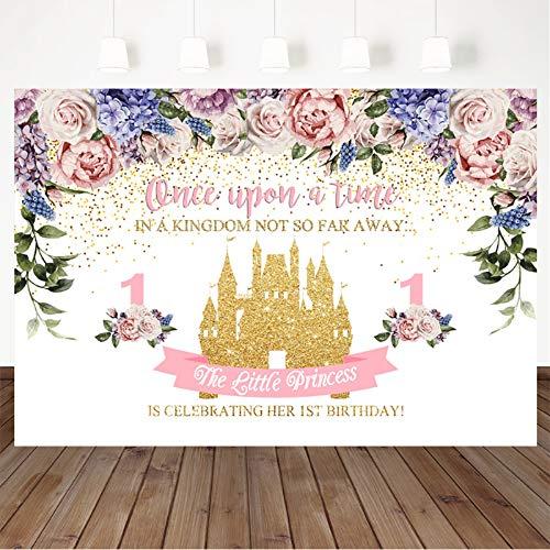 Mocsicka 1st Princess Birthday Backdrop Fantasy Pink Castle Background Birthday Party Decoration 7X5ft Vinyl Fairy Castle Girl First Birthday Photography Background