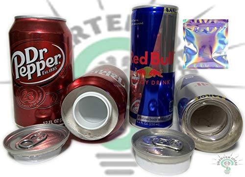 Red Bull and Dr Pepper Soda Can Safe Diversion Secret Stash Safes con almacenamiento oculto para ocultar dinero joyas cualquier cosa, además de bolsa de Mylar a prueba de olores