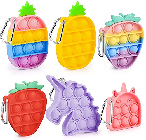 6 PCS Mini Pop Bubble Sensory Fidget Toy Squeeze Anti-Anxiety Stress Reliever Keychain Toy Cute Colorful Office Desk Toy for Birthday Parties for Kids Adults Unicorn Ice Cream Pineapple