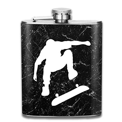 tiao9143 Flachmann,Edelstahl-Flachmann Skater Silhouette Doing Ollie Skateboard Trick Hip Flask Pocket Stainless Steel Flask 7 Oz Personalised Funny Bottle