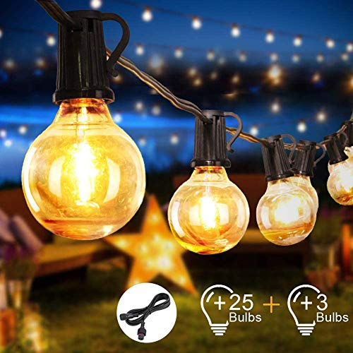 HONGLONG Outdoor Garden String Lights 25 Bulbs 28ft G40 with 3M Extension Cable Waterproof Outdoor String Lights for Patio, Garden, Gazebo (28ft)