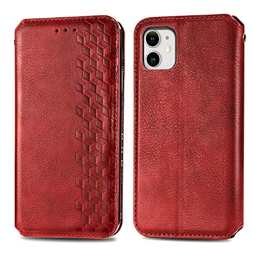 Trugox Funda Cartera para iPhone 11 de Piel con Tapa Tarjetero Soporte Plegable Antigolpes Cover Case Carcasa Cuero para Apple iPhone 11 - LOSDA12A0022 Rojo