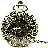 EURYTKS Taschenuhr Retro Bronze Zodiac Taschenuhr Vintage Roman Number Mechanische Taschenuhr Herren Damenuhr