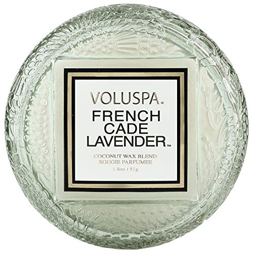 Voluspa French Cade Lavender Macaron Glass Candle, 1.8 Ounces