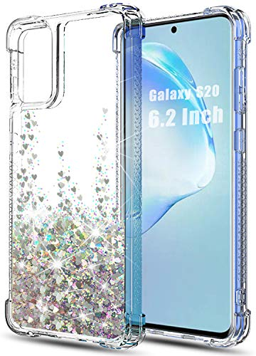 Huness Galaxy S20 Case,with Glitter Bling Moving Quicksand and Double Protection with Anti-Fall Angle Reinforcement Case for Samsung Galaxy S20 5G (6.2 inch) Phone (Silver)
