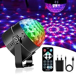 Karrong Discokugel LED Party Lampe Musikgesteuert mit USB Kabel, 7 Farbe Discolicht Partylicht Disco Licht Lichteffekte, Partybeleuchtung DJ Licht für Kinder Weihnachten Party Geburtstag Dekoration