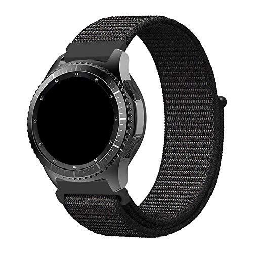 Pulseira 22mm Nylon Loop compatível com Galaxy Watch 3 45mm - Galaxy Watch 46mm - Gear S3 Frontier - Amazfit GTR 47mm - Amazfit GTR 2 - Marca LTIMPORTS (Preto)