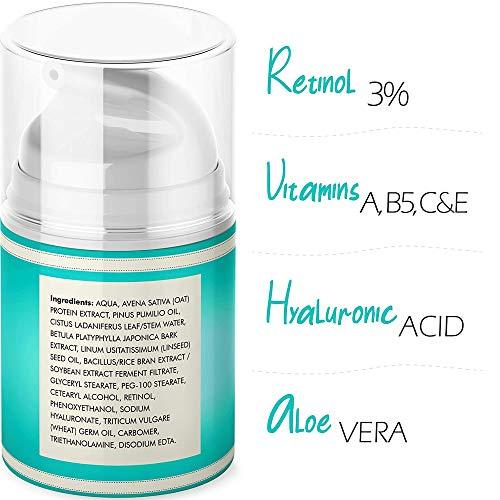 51AxL3ZlchL - 3% Retinol Face Moisturizer for Women - Anti Aging & Anti Wrinkle Cream that Works - 3.4 Oz