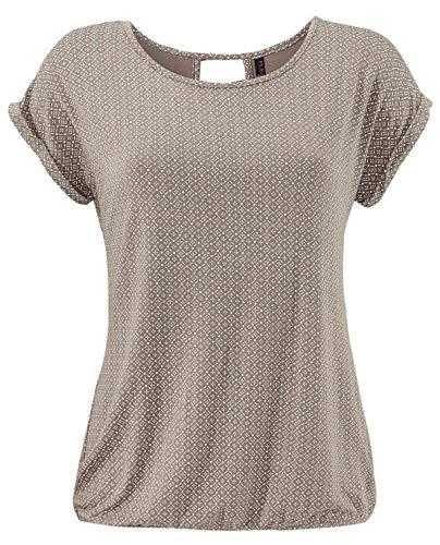 Fleasee Damen T-Shirt Rundhals Kurzarmshirt mit Allover Druck Sommer Bluse Casual Top, Hellbraun, L