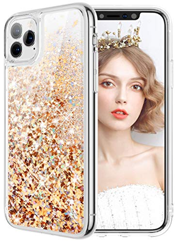wlooo Funda para iPhone 11 Pro MAX, iPhone 11 Pro MAX Funda, Glitter liquida Cristal Silicona Bling Protector TPU Bumper Niñas Mujeres Case...