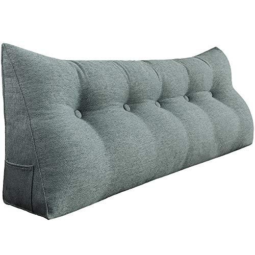 VERCART Rückenkissen Nackenstützkissen kopfkissen für Sofa Bett mit Waschbar Bezug Weich Bequem Leinen Grau 150cm
