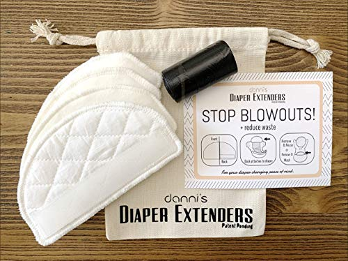 Danni's Diaper Extenders - 4 Reusable diaper extender pads - Prevent Diaper Blowouts - Use with any diaper brand (Reusable!)