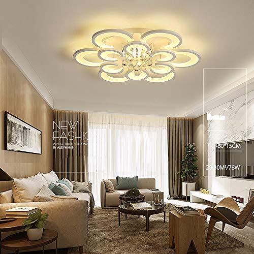 ZXJUAN plafondlamp luxe woonkamer Crescent-vormige LED-kristallen plafondlamp traploos dimming-creatief huisje slaapkamer restaurant hotel lobby decoratielamp (80 * 80 * 15 cm)