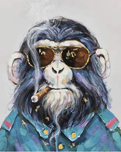 Pintura digital para adultos kit Orangután con gafas de sol pintura al óleo de bricolaje para principiantes niños pinceles y pinturas decoración de la pared del hogar 40x50cm sin marco