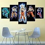 Cuadro Impresión Lienzo Pintura 5 Piezas Dibujos animados de Goku Arte HD Pared Pintura para Hogar Salón Oficina Mordern Decoración Regalo Modular Poster Mural