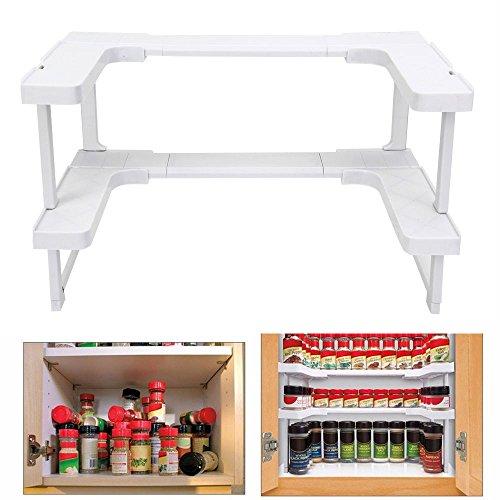 Gewürzregal für Küchenschrank, Ohne Bohren, Stapelbar und Teleskopregal Spice Rack Organizer