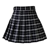 GNEHSL Falda Corta Mujer,Cute Uniformes Escolares Damas Falda Plisado Mujer Harajuku Plaid Negro Faldas Mini Falda De La Mujer Incorporada Deportes Shorts Falda,M