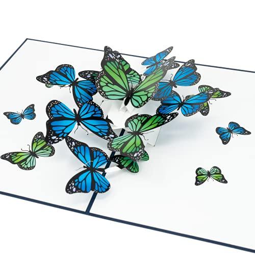 LIMAH® Pop-Up 3D Grußkarte/ Schmetterling Karte zum Geburtstag, Muttertag, Valentinstag, zur Genesung oder als Dankeskarte /Schmetterlinge Motiv/in Blau