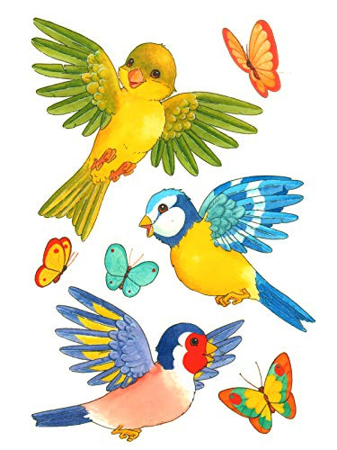dpr. Fensterbild Vögel Schmetterlinge Fenstersticker Fensterdeko Deko Aufkleber