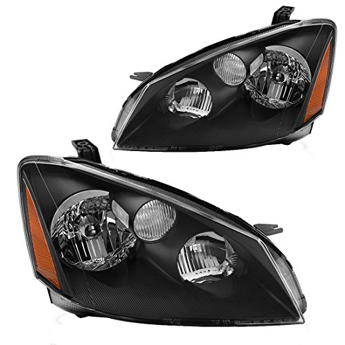 AUTOSAVER88 Headlight Assembly Compatible with 2005 2006 Nissan Altima Replacement Headlamp with H1 Halogen bulb Low Beam, Black Housing Amber Reflector